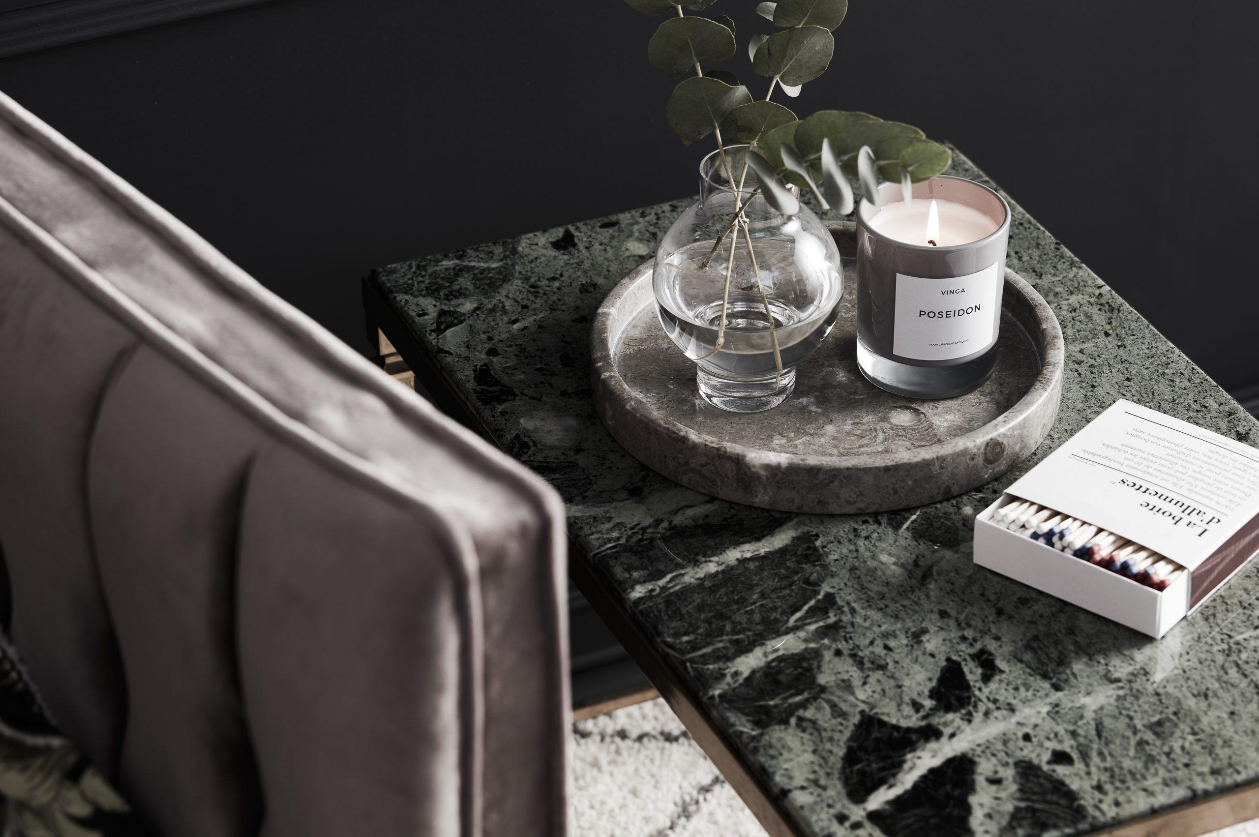 soffa, doftljus, marmor, bricka